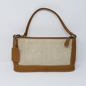 Women's Coach Leather Trimmed Canvas Bag.